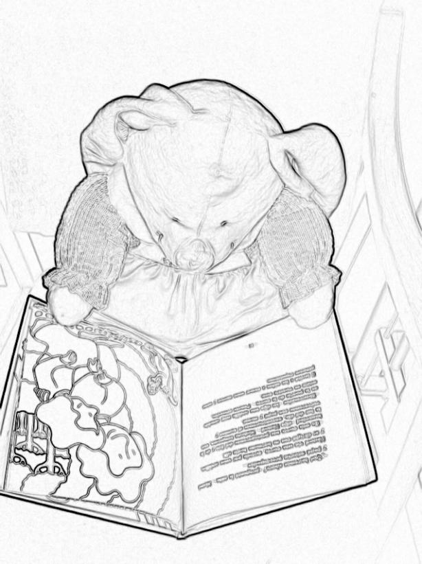Dibujo de peluche leyendo un cuento