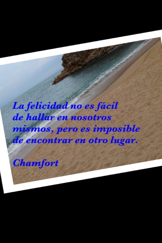 """Playa con texto sobrescrito: La felicidad no es fácil de hallar entre nosotros, pero es imposible de encontrar en otro lugar"""""""