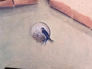 Dibujo en la fachada de un restaurante